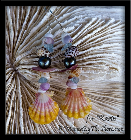 """Beach Candy"" Sunrise Shell Tahitian Black Pearl & Aquamarine Seashell Earrings"