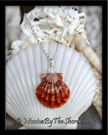 Blood Red Hawaiian Sunrise Shell Swarovski Crystal Silver Necklace