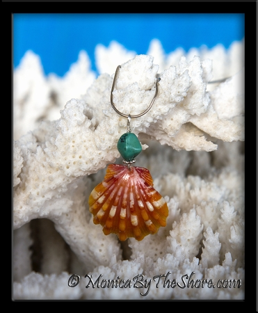 Bright Orange Red Hawaiian Sunrise Shell and Turquoise Nugget Silver Necklace