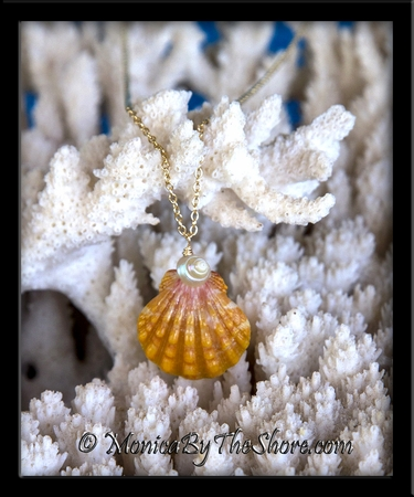 Bright Orange Hawaiian Sunrise Shell & Pearly Iridescent Trochus Shell Gold Necklace