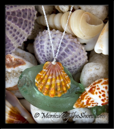 Bright Orange & Pink Hawaiian Sunrise Shell Silver Rope Chain Necklace