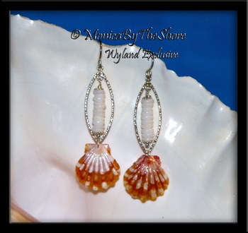 Bright Orange Sunrise Shell & Tiny Puka Shells Silver Ovals Earrings
