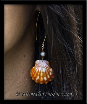 Bright Orange & White Hawaiian Sunrise Shell Pearls & Swarovski Crytal 18k Gold Longwire Earrings