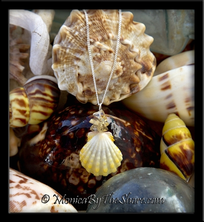 Bright White & Crisp Lemon Yellow Hawaiian Sunrise Shell & Citrine Gemstone Necklace