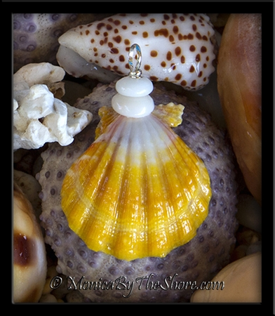 "Bright Yellow and White ""Country Style"" Sunrise Shell and Puka Shells Pendant 2"