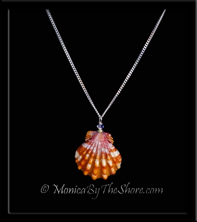Candy Cane Hawaiian Sunrise Shell & Swarovski Crystal Pendant Silver Necklace