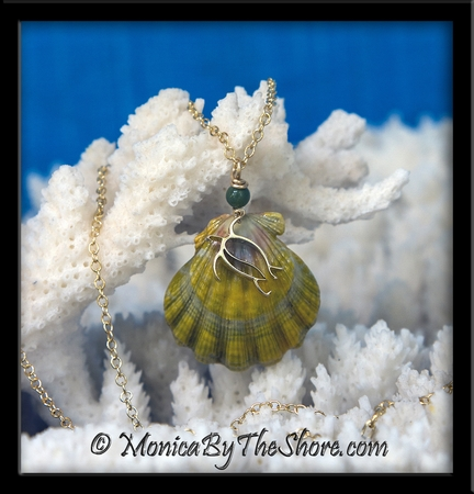 Chartreuse Moonrise Sunrise Shell 14k Gold Honu Sea Turtle Jade Bead Pendant Gold Chain Necklace