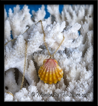 Classic Hawaiian Sunrise Shell Swarovski Crystal Gold Necklace