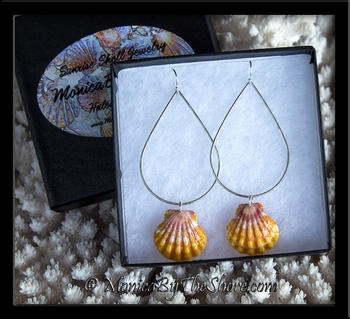 Classic Hawaiian Sunrise Shells Teardrop Sterling Silver Earrings