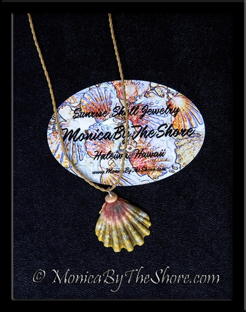 """Country Style"" Green Pink Moonrise Sunrise Shell Puka Shell Necklace"