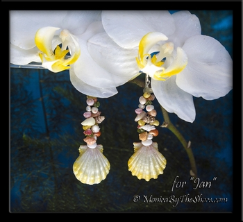 "Custom ""Beach Candy"" Sunrise Shell, Gemstone & Seashell Earrings for Jan"