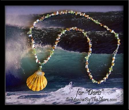 "Custom for ""Doris"" Sunrise Shell and Rare & Tiny Seashell & Gem Stone Lei Necklace"
