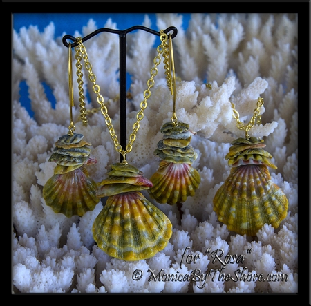 """Custom for """"Rosa"""" Bloodmoon Moonrise Sunrise Shell Earrings and two Necklaces in 18K Gold"""