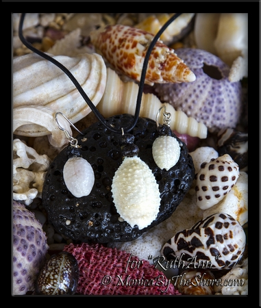 """Custom for """"RuthAnn"""" Granulated """"Bumpy"""" Cowrie & Pipipi Shells Necklace & Earrings Set"""