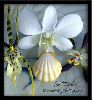 "Custom for ""Taeko"" Pale Lemon Yellow Hawaiian Sunrise Shell, Pearl and Swarovski Crystal Necklace"
