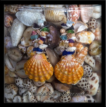 Custom Giant Bright Orange Hawaiian Sunrise Shells, Seashells and Seaglass Earrings