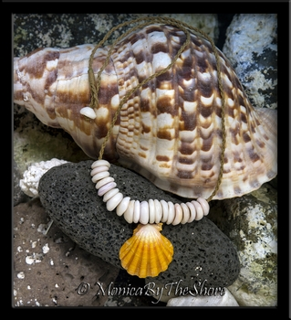 Custom Hawaiian Man's Extra Large Sunrise Shell and Puka Shells Cord Necklace
