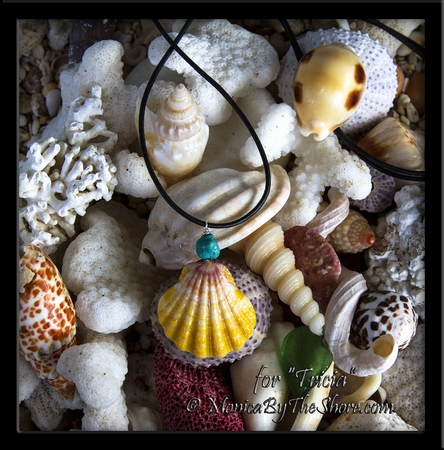 """Custom Hawaiian Sunrise Shell and Turquoise Nugget Black Leather Necklace for """"Tricia"""""""