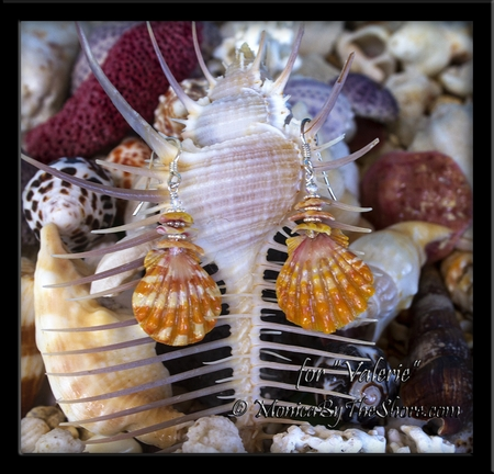 Custom Sunrise Shells, Chips & Swarovski Crystal Earrings for Valerie