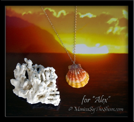 "Custom Orange Yellow Hawaiian Sunrise Shell on Gold Chain Necklace for ""Alex"""