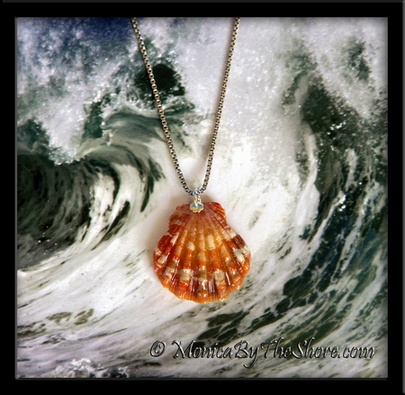 Deep Pink Orange Red Hawaiian Sunrise Shell Sterling Silver Necklace