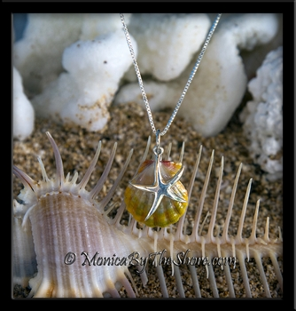 "Double ""Moonrise"" Sunrise Shell and Sterling Silver Starfish Charm Pendant Necklace"