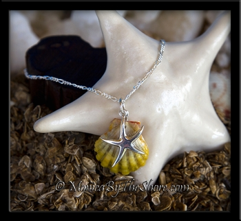 Double Sunrise Shells and Silver Starfish Charm Bracelet