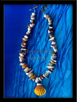"Double Whole Pair Sunrise Shell Locket ""Beach Candy"" Lei with Cobalt Blue Sea Glass, Coral & Rare Hawaiian Seashells"