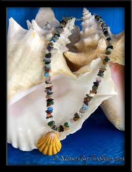 """Earth and Ocean Candy"" Hawaiian Sunrise Shell and Gem Stone Necklace"