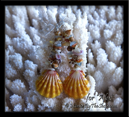 "Fantasy Shells Sunrise Shell, Seashell and Aquamarine Earrings Custom for ""Alex"""