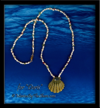 "For ""Doris"" Custom ""Moonrise"" Sunrise Shell with Kahelelani, Laiki Shells, Gemstones and Pearls"
