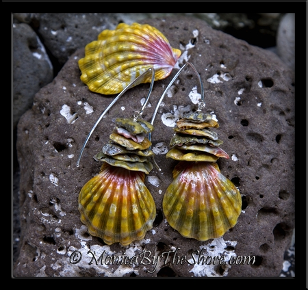 "Full Moonrise ""Blood Moon"" Sunrise Shell and Moonrise Shell Chip Long Wire Earrings"