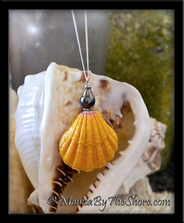 Giant Hawaiian Sunrise Shell with Tahitian Black Pearl Necklace