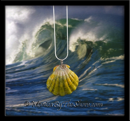 """Green Gold Pink """"Moonrise"""" Sunrise Shell Silver Spiral Necklace"""