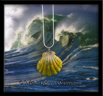 "Green Gold Pink ""Moonrise"" Sunrise Shell Silver Spiral Necklace"