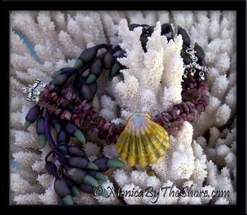 "Hawaiian ""Moonrise"" Sunrise Shell Triple Strand Tourmaline Gemstone Bracelet"