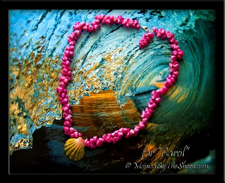 "Hawaiian ""Moonrise"" Sunrise Shell & Vintage Trochus Shells Lei for ""Carol"""