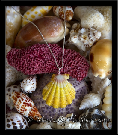 """Hawaiian """"Ruffles"""" Yellow, Pink and White Sunrise Shell with Pink Swarovski Crystal Silver Necklace"""
