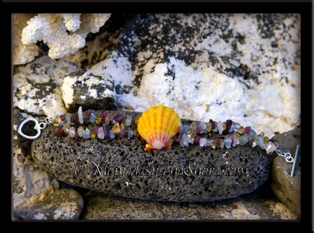 Hawaiian Sunrise Shell & Gemstones Bracelet