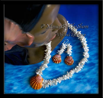 Hawaiian Sunrise Shell & Tahitian Arutua Shells Twisted Strand Lei Necklace & Matching Sunrise & Arutua Shells Earrings Set