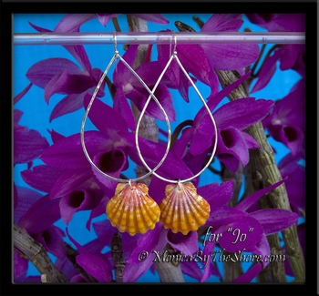 Hawaiian Sunrise Shells Sterling Silver Teardrop Hoops Earrings