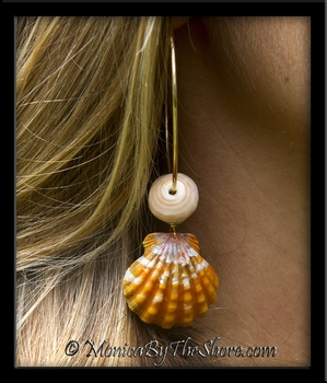 Hot Hawaiian Sunrise Shells & Natural North Shore Puka Shell Gold Hoop Earrings