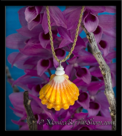 "Jumbo ""Country Style"" Hawaiian Sunrise Shell Puka Shells Cord Necklace"