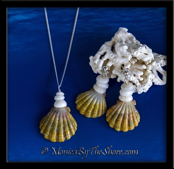 """Moonbow"" Hawaiian Sunrise Shell and Puka Shells Necklace and Earring Set"