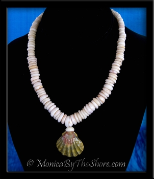 Moonrise & Puka Shells Hawaiian Sunrise Shell Necklace