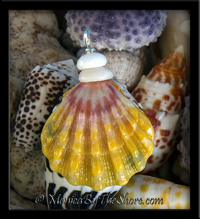 "Multi Color ""Country Style"" Sunrise Shell and Puka Shells Pendant 3"