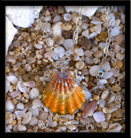 Multi Orange & Pink Colored Hawaiian Sunrise Sunrise Shell Sterling Silver Long Cable Chain Necklace