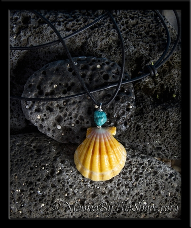 Naturalist Rolled Leather Sunrise Shell & Turquoise Nugget Necklace