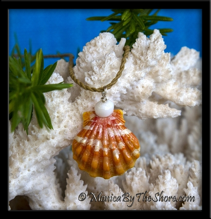 "Orange ""Country Style"" Hawaiian Sunrise Shell and Puka Shell Necklace"