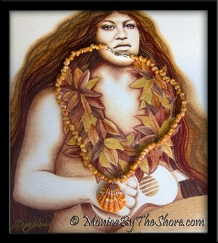 Orange Hawaiian Sunrise Shell and Tahitian Mongo Shells Necklace